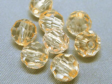 8mm 100/200/300/400/500pcs CLEAR SALMON FACETED PLASTIC ROUND BEADS TY3052
