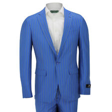 Mens Blue Pinstripe Slim Fit Gangster Suit Casual Wedding Party Blazer Trouser