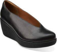 BRAND NEW CLARKS ARTISAN WOMEN CLARIBEL FLARE LEATHER WEDGE SHOES BLACK SZ 6.5-7