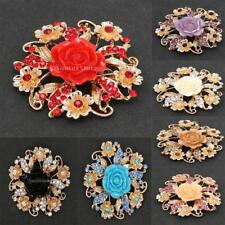 Hot Vintage Alloy Diamante Crystal Rose Flower Brooch Wedding Bridal Bouquet Pin