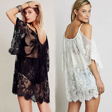 Lady Beach Dress Sexy Strap Sheer Floral Lace Embroidered Crochet Summer Dresses