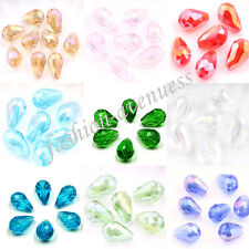 Wholesale 20Pcs Faceted Teardrop Crystal Loose Spacer Glass Beads Free Shipping