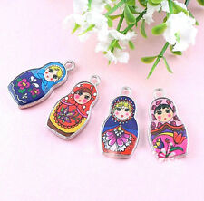 10Pcs Enamel Russian Doll Charms Pendants Necklace Jewelry Finding Craft 27x14mm