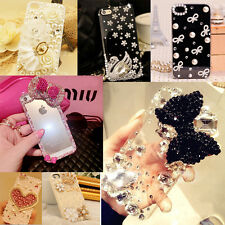 Luxury Lovely Pearl Bling Diamond Crystal Clear Case Cover For Various Phones