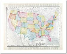 Antique Vintage Map United States America, Usa