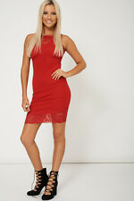 LADIES - NIFTY RED SLEEVELESS DRESS WITH LACE FABRIC EX-BRANDED