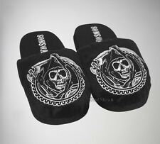 NEW SONS OF ANARCHY MOTORCYCLE GRIM REAPER ADULT Slippers PLUSH HOUSE SHOES S-M