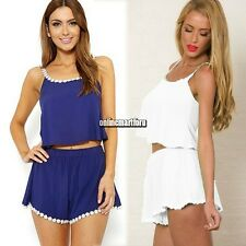 New Women Ladies Sexy Chiffon Crop Top + Shorts Pants Set Jumpsuits Rompers ONMF