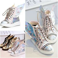 Women Angel Wings Shoes Holographic Boots Silver Metallic Boot Platform Spring