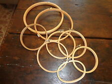Lot of 8 Vintage Wooden Embroidery Hoops