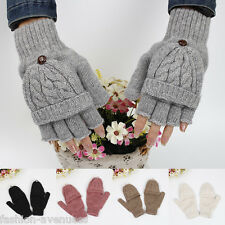 Women Lovely Convertible Knitted Fingerless Gloves Mitt Flip Mittens Winter Warm