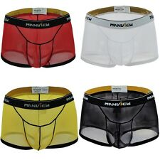Sexy Men Underpants Sheer See through Underwear Trunk Mesh Boxer Brief Shorts