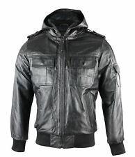 Mens Real Leather Black Bomber Hooded Jacket Casual Sizes From S - 5XL