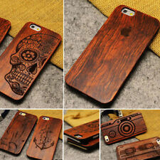 Genuine Wood Laser Engraved Carved Clip On Case Cover for iPhone 5/5S/SE/6/6S