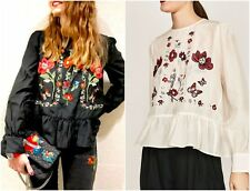 NWT ZARA WOMEN'S WHITE FLORAL MULBERRY SILK EMBROIDERED BLOUSE Sz-S, M BLOGGERS