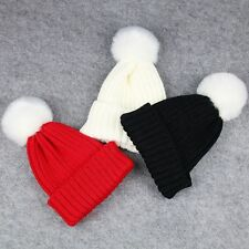 Adjustable Wool Fur Pompom Ball Cap Crochet Knitted Hat Baby Kids Children