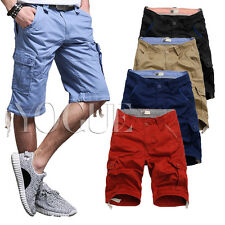 100% Cotton Mens Summer Solid Chino Cargo Shorts Classic Length Outdoor Pants