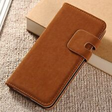 For iPhone Samsung Vintage Luxury Soft Leather Case Magnetic Flip Wallet Cover N