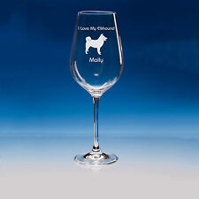 Norwegian Elkhound Dog Lover Gift Personalised Engraved Fine Quality Wine Glass