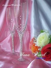 Swarovski Crystal Personalized Wedding Toasting Champagne Glasses Flutes Mr Mrs