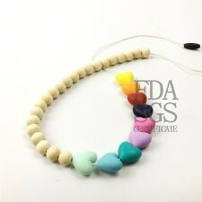 Silicone Teething Necklace Wood Nursing BPA Free Heart Chain Organic Breastfeed
