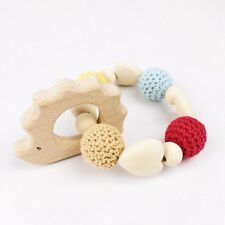 Hedgehog Wooden Teether Natural Organic Baby Toy Gift Bracelet Rattle Montessori