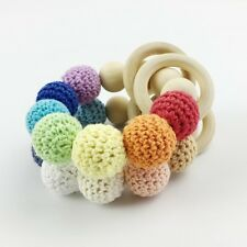 2 pcs Wooden Ring Teether Crochet Beads Pacifier Grasping Toy Chewing