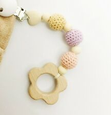 Flower Wooden Baby Toy Clip Ring Teether Organic Montessori Hanging Dummy Chain