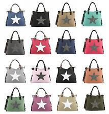 LADIES Star SHOPPER Strass SHOULDER Bag Canvas Cloth bag BLOGGER Star bag