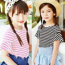 Toddler Baby Girls Striped T-shirts Tops Infant Short Sleeve Shirts Blouse 0-24M
