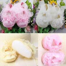 1Pair Infant Girls Prewalker Non-Slip Baby Shoes Lace Flower Frilly