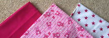 PINK BABY TEDDY BUNDLE PATCHWORK FABRIC / MATERIAL SQUARES - 20cm SQUARES