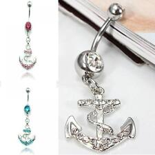 Dangle Button Navel Ring Bar Barbell Anchor Belly Piercing