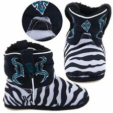 NEW Cowboy Kickers Infant and Toddler Girls Zebra Print Cowboy Boot Slippers