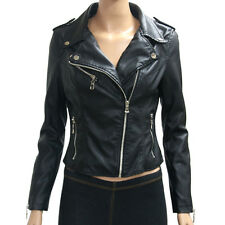 Womens Black Zipper Motorcycle Faux Leather Jacket size XS