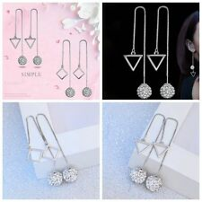 1 Pair  Jewelry Fashion Long Drop Earrings Crystal Ball Silver Plated Rhombus
