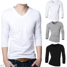 Fashion Summer Mens Casual V-Neck Tops Blouse Tee Slim Fit Long Sleeve T-Shirts