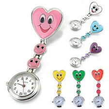 Women's Smiling Faces Heart Clip-On Pendant Nurse Fob Brooch Pocket Watch Sturdy