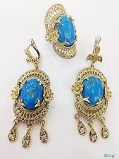925 STERLING SILVER HANDMADE TURKISH JEWELRY BLUE TURQUOISE EARRING & RING SET