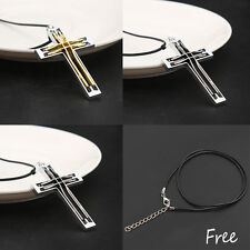 Unisex's Men Gold Silver Stainless Steel Cross Pendant Necklace Chain Charm Gift