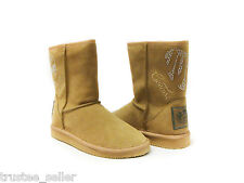 NEW in Box Juicy Couture Crystals Bling Cafe Camel Suede Orion Cozy Boots