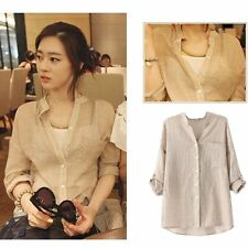 Womens Blouse Long Sleeve Tops Casual Cotton Linen Sheer Button Down Shirt S-XL