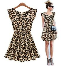 Sexy Leopard Dress Women's Sleeveless Casual Coctail Party Evenning Mini Dress