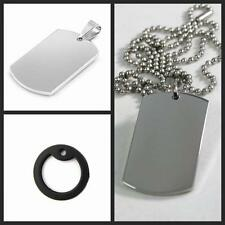 Necklace Mens Dog Tag Steel Stainless Military Army Pendant