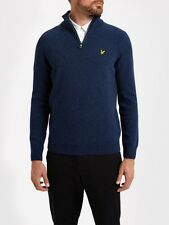 Lyle And Scott Mens Knitwear KN601V 1/4 Zip 7gg Jumper-Navy
