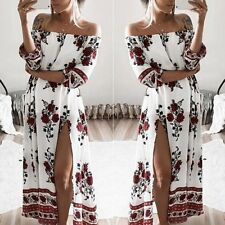 Women Floral Casual Party Cocktail Sexy Off-shoulder Long Boho Dress Clubwear