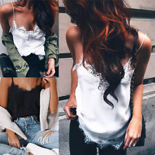 Women Chiffon Blouset Sexy V-neck Lace Patchwork Shirt Sleeveless Tank Tops Vest