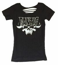 Danzig Classic Beast Skull Slash Back Girls Juniors Black Shirt New Official