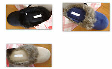 Charter Club faux fur scuff slippers beige, purple, black - SMALL 5-6