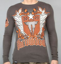 NEW AFFLICTION MENS THROWDOWN PREMIUM ANYTIME ANYPLACE BROWN THERMAL